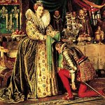 Queen Elizabeth I knighting Francis Drake Fine Art Print by Clive Uptton