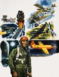 Unidentified pilot against a montage of aircraft Poster Art Print by Gerry Wood