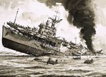 The sinking of HMS Dasher Fine Art Print by John S. Smith