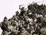 Danish Vikings attack the British forces under King Alfred Wall Art & Canvas Prints by C.L. Doughty