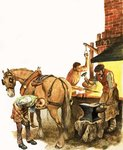 Once Upon a Time... village life one hundred years ago. A blacksmith at work Poster Art Print by Peter Jackson