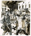 Riots during the era of Indian independence Fine Art Print by John Millar Watt