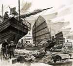 Unidentified scene of Chinese boats in harbour Fine Art Print by English School