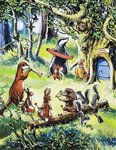 Nursery animals playing in wood Fine Art Print by Ron Embleton