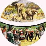 African Watering Hole and village dancing Wall Art & Canvas Prints by English School