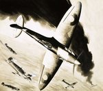 Unidentified Spitfire in dogfight with German fighters Fine Art Print by Frank Bellamy
