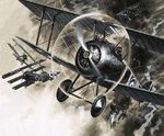 Unidentified dog fight between British biplanes and a German triplane Fine Art Print by English School