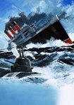 Liner being sunk by a submarine Poster Art Print by John S. Smith