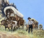 The Overland Stage: Outlaws and Indians Wall Art & Canvas Prints by Peter Jackson