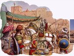 Saladin besieges Kerak Castle Fine Art Print by Pat Nicolle
