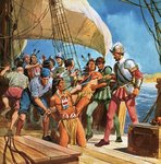 Operation Redskin. In 1605, Sir Ferdinando Gorges sailed to America and kidnapped five Indians so that the Lord Chief Justice could learn more about native Americans. Fine Art Print by Angus McBride