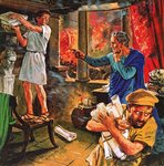 Galen trying to rescue his manuscripts during the great fire of Rome in AD 191