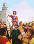 Queen Elizabeth I making her Armada speech Wall Art & Canvas Prints by Clive Uptton