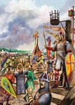 Normans preparing for the invasion of England in 1066 Wall Art & Canvas Prints by James Edwin McConnell