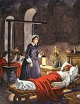 Florence Nightingale. The Lady with the Lamp, visiting the sick soldiers in hospital Wall Art & Canvas Prints by Clive Uptton
