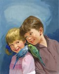 Boy and girl with budgerigars Postcards, Greetings Cards, Art Prints, Canvas, Framed Pictures, T-shirts & Wall Art by Ron Embleton
