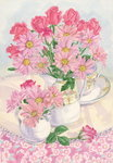 Roses and Chrysanthemums, 1996 (w/c on paper) Fine Art Print by Joan Thewsey