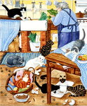 Grandma and 10 cats in the kitchen Poster Art Print by Linda Benton