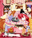 Grandma and 10 cats in the bedroom Poster Art Print by Linda Benton