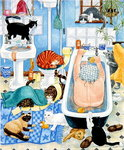Grandma and 10 cats in the bathroom Fine Art Print by Julie Nicholls