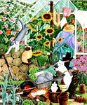 Grandma and 10 cats in the greenhouse Fine Art Print by Linda Benton