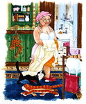 Grandma and 2 cats and nightdress Fine Art Print by Linda Benton