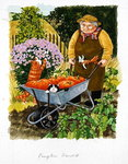 Grandma and 2 cats and pumpkin harvest Poster Art Print by Lisa Graa Jensen