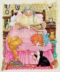 Grandma and 2 cats and a pink bed Fine Art Print by Linda Benton