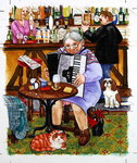 Grandma and a cats and an accordion Wall Art & Canvas Prints by Linda Benton