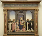 Virgin and Child enthroned with Angels and St. Thomas Aquinas, St. Barnabas, St. Dominic, and St. Peter Martyr, c.1422 Fine Art Print by Fra Angelico