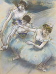 Three Dancers in a Diagonal Line on the Stage, c.1882 Fine Art Print by Edgar Degas