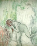 Nude getting out of the Bath Fine Art Print by Pierre-Auguste Renoir