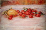 Still Life with Strawberries and Lemon, c.1895 Wall Art & Canvas Prints by Pierre Auguste Renoir