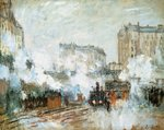 Exterior of the Gare Saint-Lazare, Arrival of a Train, 1877 Fine Art Print by Claude Monet