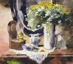 Still Life with Lamp and Flowers Fine Art Print by John Lidzey