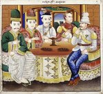 King Thibaw with dignitaries and a British officer Fine Art Print by Gerald Kelly