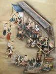 Folk painting depicting a market scene Fine Art Print by William Hogarth