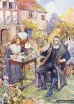 John Milton in his garden Wall Art & Canvas Prints by Harry Green