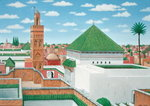 Rooftops, Marrakech, 1998 (acrylic on linen) Wall Art & Canvas Prints by A. Margaretta Burr