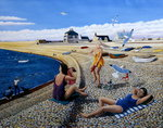 Cheeky Sea Gulls, 2005 Fine Art Print by P.J. Crook