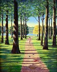 Stroll in Richmond Park, 1995 Fine Art Print by Liz Wright
