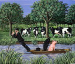 Punting for business, 1983 Fine Art Print by Liz Wright