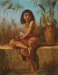 An Egyptian Flower Girl Fine Art Print by Sir John Everett Millais
