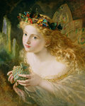 'Take the Fair Face of Woman, and Gently Suspending, With Butterflies, Flowers, and Jewels Attending, Thus Your Fairy is Made of Most Beautiful Things', Charles Ede Fine Art Print by John Rogers Herbert