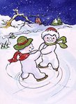 Snowmen Skating Fine Art Print by Christian Kaempf