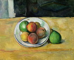 Still Life with a Peach and Two Green Pears, c. 1883-87 Wall Art & Canvas Prints by Paul Cezanne
