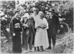 Madame Kuroki, Claude Monet (1840-1926), Alice Butler (1894-1949), Blanche Hoschede-Monet and Georges Clemenceau (1841-1929) in the Garden at Giverny (b/w photo) Postcards, Greetings Cards, Art Prints, Canvas, Framed Pictures, T-shirts & Wall Art by French School