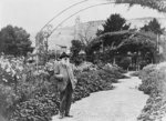 Claude Monet (1841-1926) in his garden at Giverny, 1925 (b/w photo) Wall Art & Canvas Prints by French School