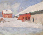 Norway, Red Houses at Bjornegaard, 1895 Wall Art & Canvas Prints by Albert-Charles Lebourg