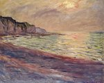 The Beach at Pourville, Setting Sun, 1882 Wall Art & Canvas Prints by Claude Monet